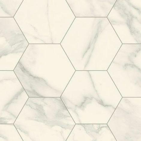 Sol Lino - Imitation carrelage hexagonal - Blanc marbré
