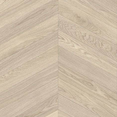 Sol PVC Best - Effet parquet chevron marqué - Bois clair - 3 x 6m