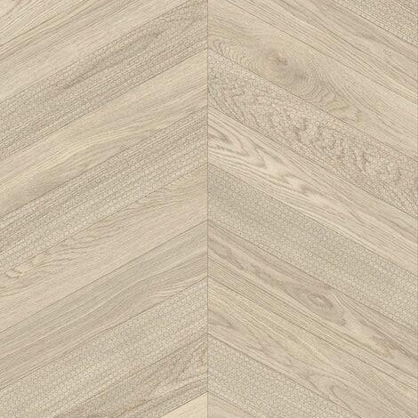Sol PVC Best - Effet parquet chevron marqué - Bois clair - 4 x 4m