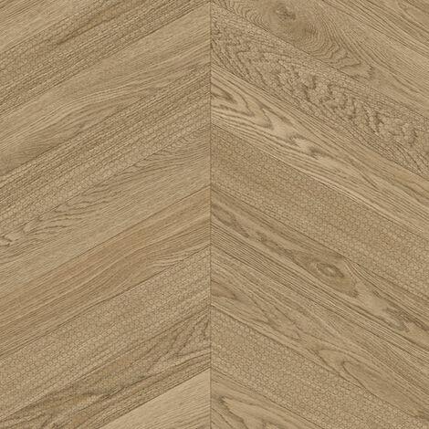 Sol PVC Best - Effet parquet chevron marqué - Bois naturel - 3 x 6m