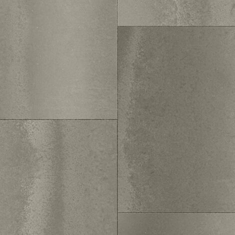 Sol PVC Best - Motif carrelage rectangulaire - Béton marron foncé