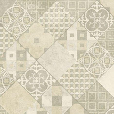 Sol PVC Sous Couche Textile - Carreaux Art Déco - Crème et gris