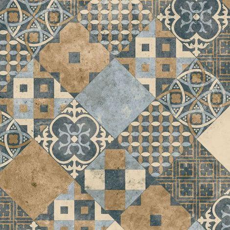 Sol PVC Sous Couche Textile - Carreaux Art Déco - Terre de Sienne et Bleu Gris