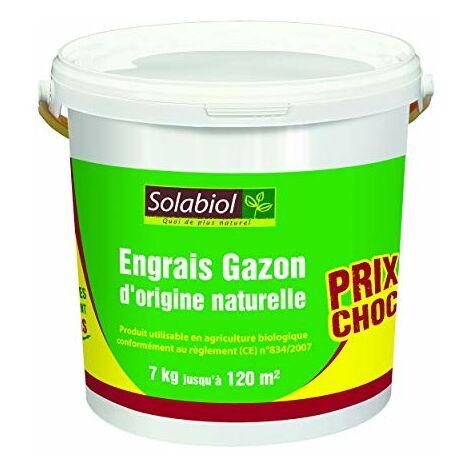 Solabiol SOGAZ7 Engrais Gazon Origine Naturelle | 7Kg 116m² | Utilisable en Agriculture Biologique, Puissant