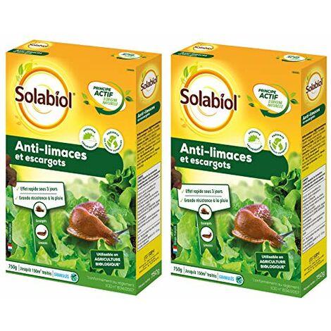 SOLABIOL SOLIMA750X2 Anti-limaces et escargots - Granules d'origine Naturelle Lot de 2 x 750g | Jusqu'à 300 m2 | Utilisable en Agriculture Biologique