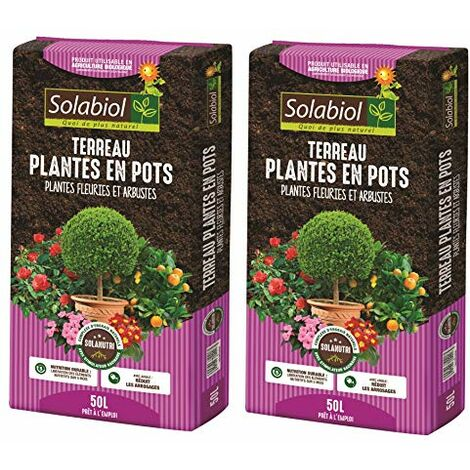Solabiol TERBAC50 TERREAU pour Plantes en Pots BACS JARDINIÈRES 2 x 50 L | Jusqu'à 5 Mois de Nutrition JARDINIERES 2X 50, Utilisable en Agriculture Biologique