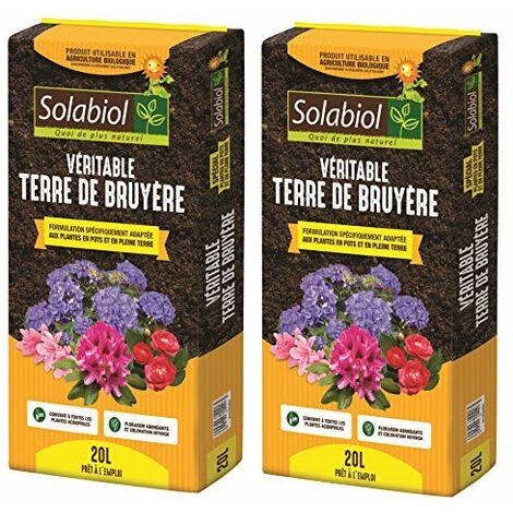 Solabiol TERBRUY20 VERITABLE Terre DE Bruyere Lot 2X 20 L | Jusqu'à 5 Mois de Nutrition, Utilisable en Agriculture Biologique