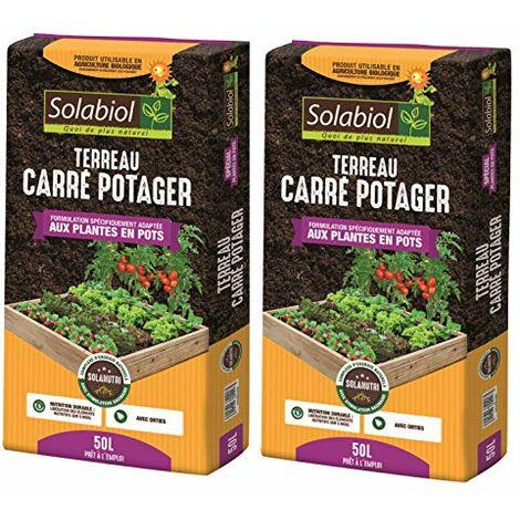 Solabiol TERCARPOT50 TERREAU Carre Potager 50 L Jusqu'à 5 Mois de Nutrition, Utilisable en Agriculture Biologique