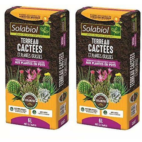 SOLABIOL - TERREAU CACTEES ET Plantes Grasses - 12L Pret A l'emploi JUSQU'A 5 Mois DE Nutrition - TERCAC6
