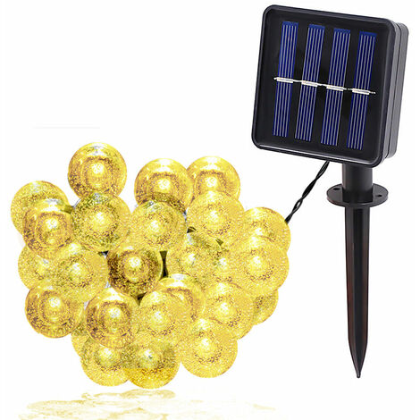 Solaire 1,8 CM Bubble Ball String Light IPX4 lumiere blanche chaude 7 metres 50 lumieres 8 modes d'eclairage