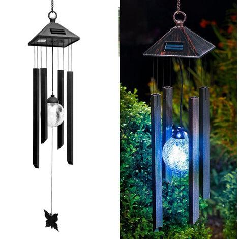 """main image of """"Solaire extérieur paysage jardin lumière balcon décoration lustre suspension lumière LED coloré vent carillon lampe"""""""