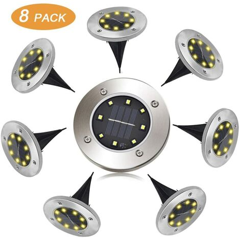 Solaire Extérieur,FLOWood 8 LED 8 Pack Spot Lampe Solaire Jardin Etanche IP65 Pelouse Lumière Decorative Pour Chemin Jardin Terrace Cour Pelouse - Différentes Couleurs