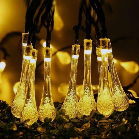Solaire LED Goutte D'eau Guirlande Lumineuse Bulle Perle Ronde Gypsophile Extérieure Étanche Décoration De Noël Lanterne Blanc Chaud Solaire-5m 20 Lumières