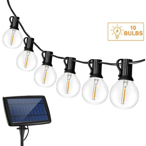 Solaires Guirlandes Blanc Chaud Weatherproof Hanging Ampoules Jardin Patio Lumiere Eclairage Fee Chaine