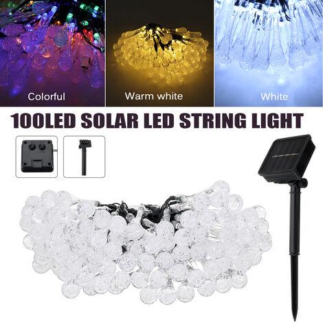 Solar 10M 100LED Cadena de luces de gota de agua Paisaje Gota de lluvia Lágrima (blanco cálido, 10M 100LED)