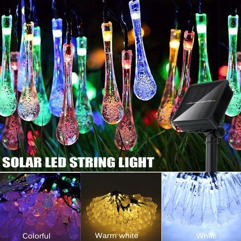 Solar 10M 100LED Cadena de luces de gota de agua Paisaje Gota de lluvia Lágrima (multicolor, 10M 100LED)
