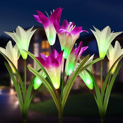 Solar 4 LED Lily Flowers Garden Stake Lights Lamp Outdoor Yard Path Lawn Party
