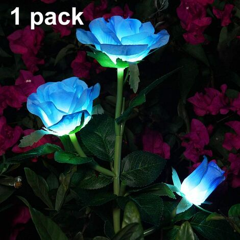 Solar Artificial Rose Flower Lights Decorative Solar LED Lights for Outdoor Waterproof IP44 for Garden Christmas Outdoor Decoration, Patio, Backyard, Lawn, Balcony (Blue, 1 PC)