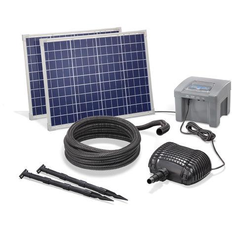 Solar Bachlaufpumpe 100W 2600l/h + Akku Teich Solarpumpe Garten esotec 101974