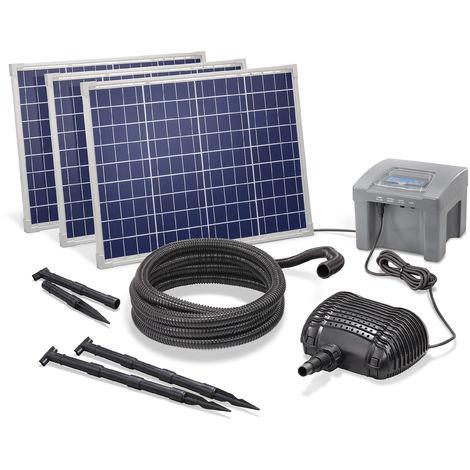 Solar Bachlaufpumpe 150W 3500l/h + Akku Teich Solarpumpe Garten esotec 101976