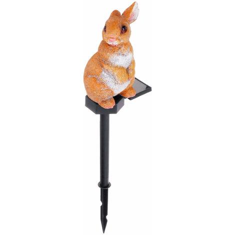 Solar Beacon Outdoor Spot Lawn Garden Resin Statue Warm White Rabbit
