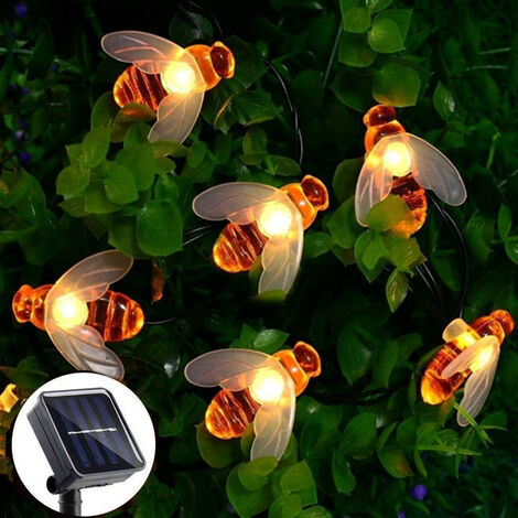 """main image of """"Solar bee string lights 6.5m 30led outdoor fairy lights waterproof indoor garden patio party christmas tree warm white"""""""