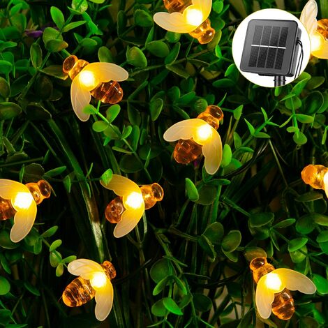 """main image of """"Solar Bee String Lights Outdoor 31 Feet 50 Led Honeybee Fairy Lights with 8 Lighting Modes, Waterproof Solar Bumble Bee Lights for Patio Yard Garden Grass Wedding Christmas Party Decor (Warm White)"""""""