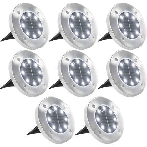 Solar-Bodenleuchten 8 Stk. LED-Leuchtmittel Weiß