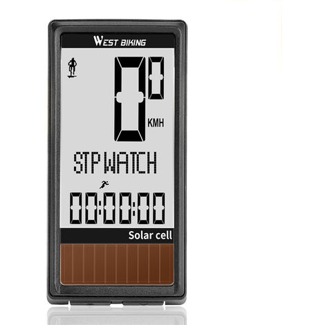 Solar Cell 5 Languages Wireless Bike Computer Auto ON/OFF Cycling Speedometer Odometer Waterproof Backlight Bicycles Stopwatch