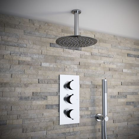 Solar Chrome Round 2 Way Concealed Ceiling Shower and Handheld
