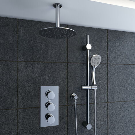 Solar Chrome Round 2 Way Concealed Ceiling Shower and Riser Rail