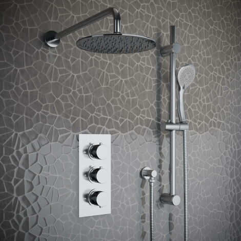 Solar Chrome Round 2 Way Concealed Shower Kit and Riser Rail