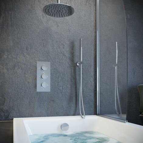 Solar Chrome Round Concealed Ceiling Shower with Handheld and Filler