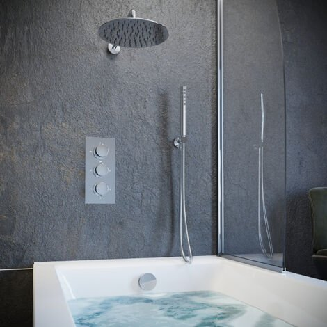 Solar Chrome Round Concealed Shower with Handheld and Overflow Filler