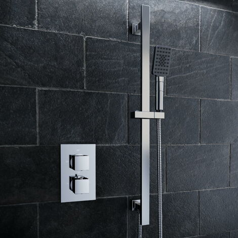 Solar Chrome Square 1 Way Concealed Shower Mixer Pack with Rail