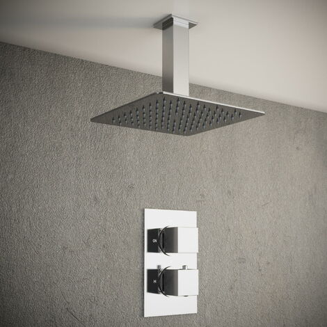 Solar Chrome Square 1 Way Concealed Shower Pack with Ceiling Head