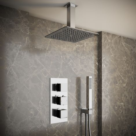Solar Chrome Square 2 Way Concealed Ceiling Shower and Handheld