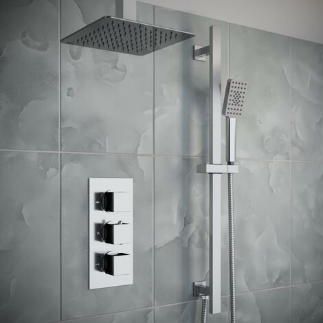 Solar Chrome Square 2 Way Concealed Ceiling Shower Pack with Rail