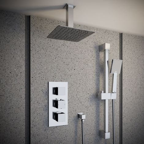 Solar Chrome Square 2 Way Concealed Shower with Ceiling Head and Rail