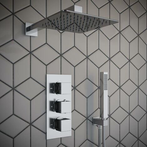 Solar Chrome Square 2 Way Concealed Shower with Overhead and Handheld