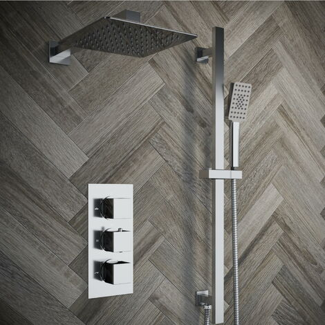 Solar Chrome Square 2 Way Concealed Shower with Overhead and Rail