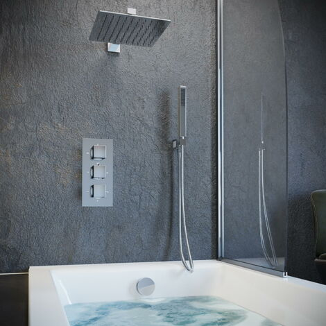 Solar Chrome Square Concealed Shower with Handheld and Overflow Filler