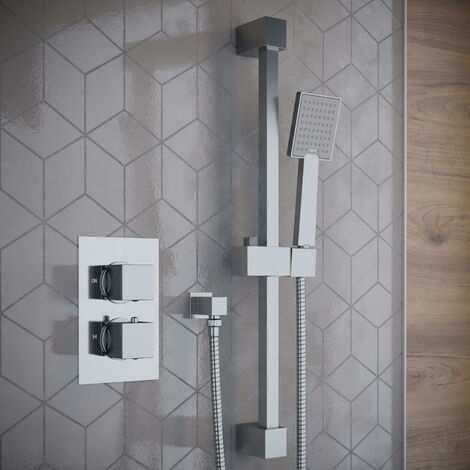 Solar Chrome Square Concealed Thermostatic Mixer Shower Kit with Rail
