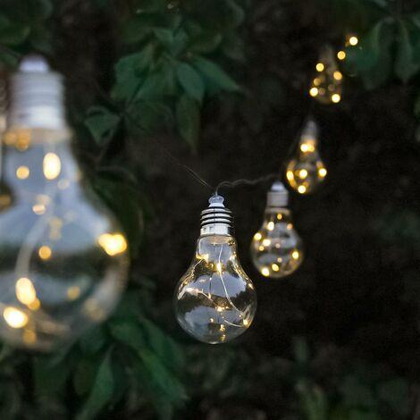Solar Clear Bulb Festoon Fairy Lights, Warm White LEDs, 3.9m