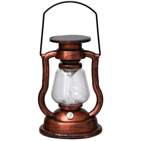 Solar colgantes activadas Vela retro luz LED de la lampara de aceite que oscila sin llama de la linterna solar al aire libre Iluminacion colgantes para Patio Jardin Patio Tienda de campana, de color 1