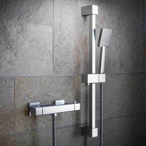Solar Cool Touch Bar Shower Mixer Kit - Square Exposed Valve and Riser