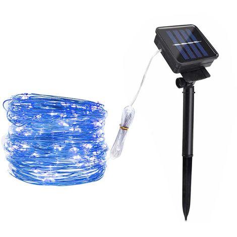 Solar Copper Lamp String Christmas LED Decorative Lamp Lamp Light String 8 Function Modes, Blue, 100LED