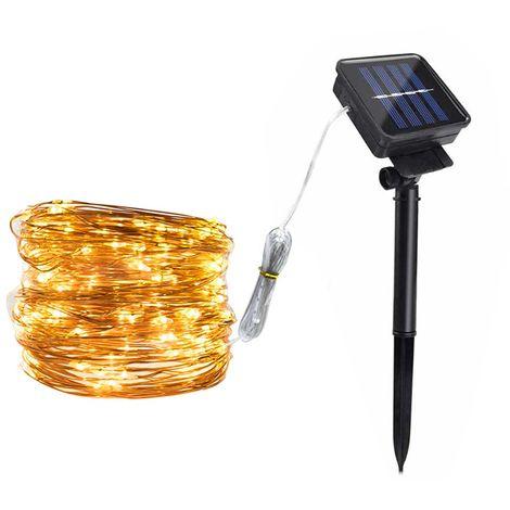 Solar Copper Lamp String Christmas LED Decorative Lamp Lamp Light String 8 Function Modes, Warm white, 100LED