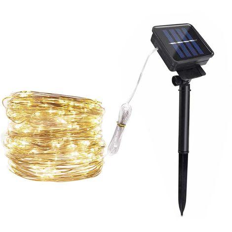 Solar Copper Lamp String Christmas LED Decorative Lamp Lamp Light String 8 Function Modes, White, 100LED