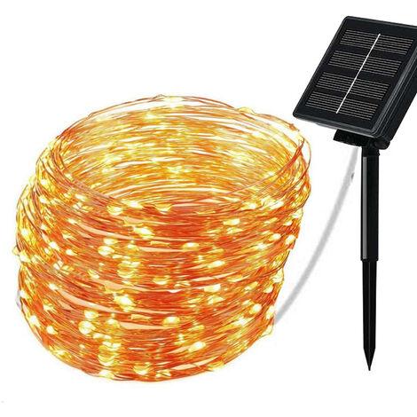 Solar Copper String Lights Copper String Lights Christmas Lights Warm White, 22m 200 Lights